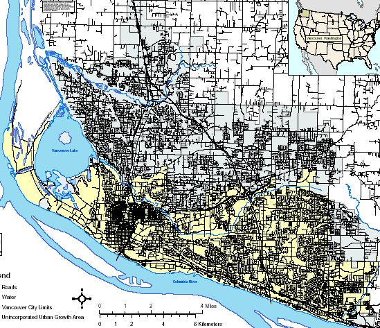 Vancouver city (yellow) and urban area (gray)
