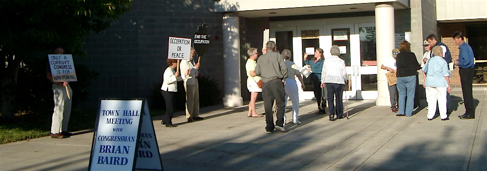 Outside at the meeting