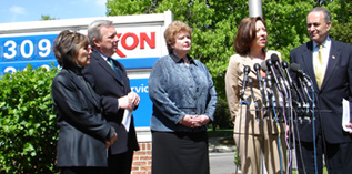 Maria Cantwell at an Exxon station