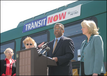 Ron Sims at Transit Now press conference, King county photo